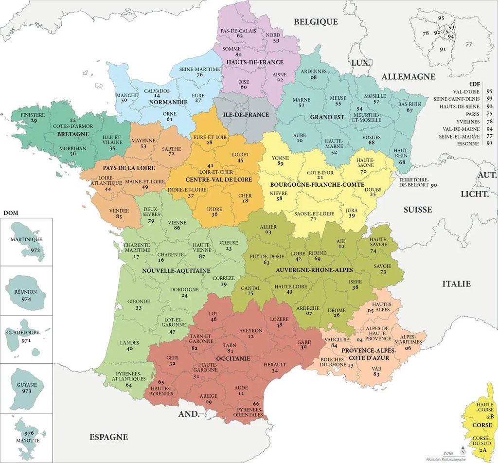Carte des régions et départements